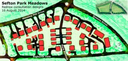 Mock up design of how trees and landscape would be damaged by housing at Sefton Park Meadows